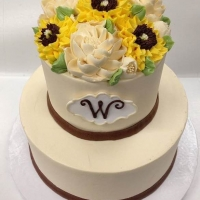 Classic Rustic Sunflowers 2 Tier