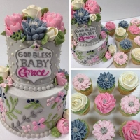 Signature Baby Grace 2 Tier and Cupcakes