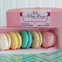 French Macarons with scalloped box