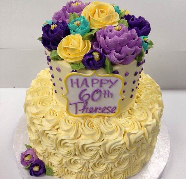 Stacked cake collection white flower cake shoppe classic rosettes and purple dots mightylinksfo