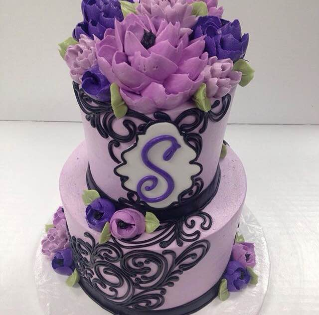 Stacked cake collection white flower cake shoppe classic purple and black 2 tier mightylinksfo