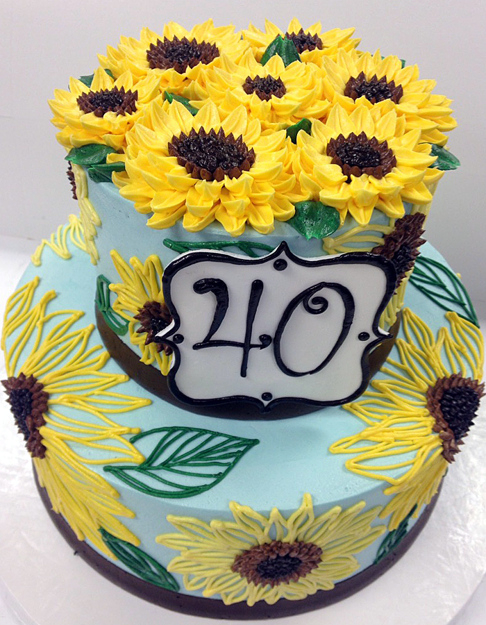 Classic Gatsby 2 Tier Signature 40 Sunflowers